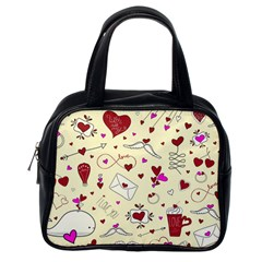 Valentinstag Love Hearts Pattern Red Yellow Classic Handbags (one Side) by EDDArt