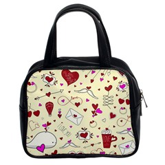 Valentinstag Love Hearts Pattern Red Yellow Classic Handbags (2 Sides) by EDDArt