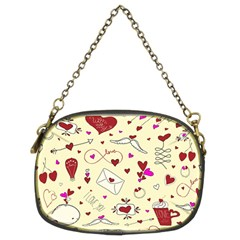 Valentinstag Love Hearts Pattern Red Yellow Chain Purses (two Sides)  by EDDArt