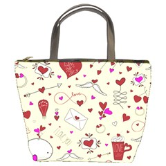 Valentinstag Love Hearts Pattern Red Yellow Bucket Bags by EDDArt
