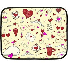 Valentinstag Love Hearts Pattern Red Yellow Fleece Blanket (mini) by EDDArt