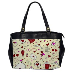 Valentinstag Love Hearts Pattern Red Yellow Office Handbags by EDDArt