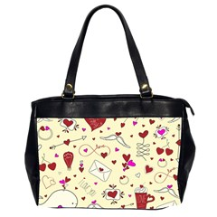 Valentinstag Love Hearts Pattern Red Yellow Office Handbags (2 Sides)  by EDDArt