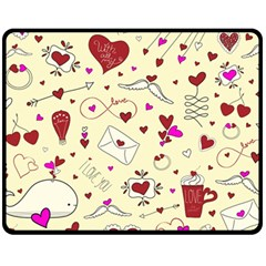 Valentinstag Love Hearts Pattern Red Yellow Fleece Blanket (medium)  by EDDArt