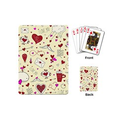 Valentinstag Love Hearts Pattern Red Yellow Playing Cards (mini)  by EDDArt