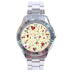 Valentinstag Love Hearts Pattern Red Yellow Stainless Steel Analogue Watch by EDDArt