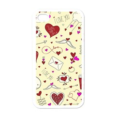Valentinstag Love Hearts Pattern Red Yellow Apple Iphone 4 Case (white) by EDDArt