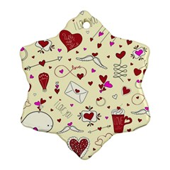 Valentinstag Love Hearts Pattern Red Yellow Snowflake Ornament (two Sides) by EDDArt