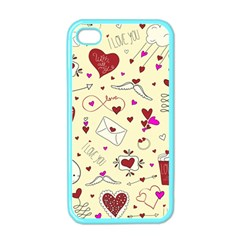 Valentinstag Love Hearts Pattern Red Yellow Apple Iphone 4 Case (color) by EDDArt