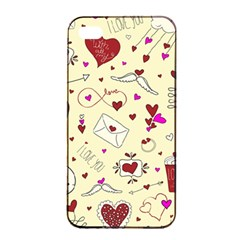 Valentinstag Love Hearts Pattern Red Yellow Apple Iphone 4/4s Seamless Case (black) by EDDArt