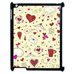 Valentinstag Love Hearts Pattern Red Yellow Apple Ipad 2 Case (black) by EDDArt