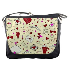 Valentinstag Love Hearts Pattern Red Yellow Messenger Bags by EDDArt