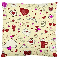 Valentinstag Love Hearts Pattern Red Yellow Large Cushion Case (two Sides) by EDDArt