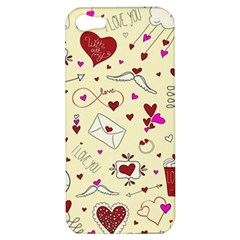 Valentinstag Love Hearts Pattern Red Yellow Apple Iphone 5 Hardshell Case by EDDArt