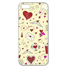 Valentinstag Love Hearts Pattern Red Yellow Apple Seamless Iphone 5 Case (clear) by EDDArt