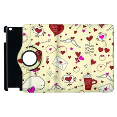 Valentinstag Love Hearts Pattern Red Yellow Apple Ipad 3/4 Flip 360 Case by EDDArt