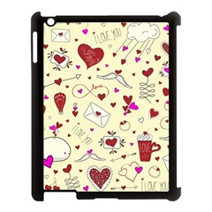 Valentinstag Love Hearts Pattern Red Yellow Apple Ipad 3/4 Case (black) by EDDArt