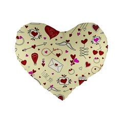 Valentinstag Love Hearts Pattern Red Yellow Standard 16  Premium Heart Shape Cushions by EDDArt