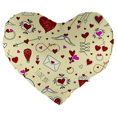 Valentinstag Love Hearts Pattern Red Yellow Large 19  Premium Heart Shape Cushions by EDDArt