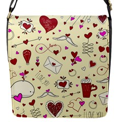 Valentinstag Love Hearts Pattern Red Yellow Flap Messenger Bag (s) by EDDArt