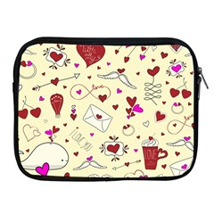 Valentinstag Love Hearts Pattern Red Yellow Apple Ipad 2/3/4 Zipper Cases by EDDArt