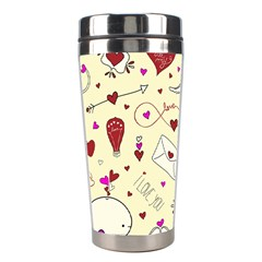 Valentinstag Love Hearts Pattern Red Yellow Stainless Steel Travel Tumblers by EDDArt