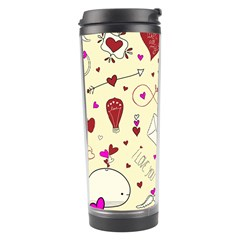 Valentinstag Love Hearts Pattern Red Yellow Travel Tumbler by EDDArt