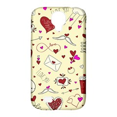 Valentinstag Love Hearts Pattern Red Yellow Samsung Galaxy S4 Classic Hardshell Case (pc+silicone) by EDDArt