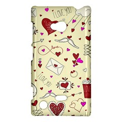 Valentinstag Love Hearts Pattern Red Yellow Nokia Lumia 720 by EDDArt