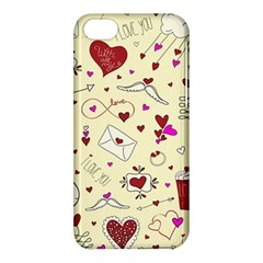 Valentinstag Love Hearts Pattern Red Yellow Apple Iphone 5c Hardshell Case by EDDArt