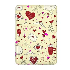 Valentinstag Love Hearts Pattern Red Yellow Samsung Galaxy Tab 2 (10 1 ) P5100 Hardshell Case  by EDDArt