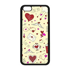 Valentinstag Love Hearts Pattern Red Yellow Apple Iphone 5c Seamless Case (black) by EDDArt
