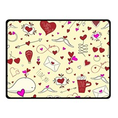 Valentinstag Love Hearts Pattern Red Yellow Double Sided Fleece Blanket (small)  by EDDArt