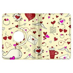 Valentinstag Love Hearts Pattern Red Yellow Kindle Fire Hdx Flip 360 Case by EDDArt