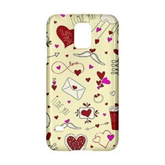 Valentinstag Love Hearts Pattern Red Yellow Samsung Galaxy S5 Hardshell Case  by EDDArt