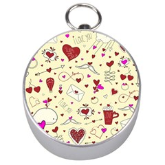 Valentinstag Love Hearts Pattern Red Yellow Silver Compasses by EDDArt