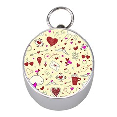 Valentinstag Love Hearts Pattern Red Yellow Mini Silver Compasses by EDDArt