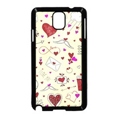 Valentinstag Love Hearts Pattern Red Yellow Samsung Galaxy Note 3 Neo Hardshell Case (black) by EDDArt