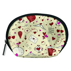 Valentinstag Love Hearts Pattern Red Yellow Accessory Pouches (medium)  by EDDArt