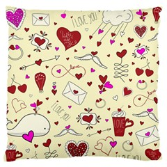 Valentinstag Love Hearts Pattern Red Yellow Standard Flano Cushion Case (two Sides) by EDDArt