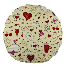 Valentinstag Love Hearts Pattern Red Yellow Large 18  Premium Flano Round Cushions by EDDArt
