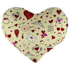 Valentinstag Love Hearts Pattern Red Yellow Large 19  Premium Flano Heart Shape Cushions by EDDArt