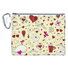 Valentinstag Love Hearts Pattern Red Yellow Canvas Cosmetic Bag (xxl) by EDDArt