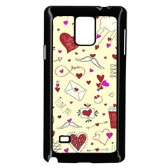Valentinstag Love Hearts Pattern Red Yellow Samsung Galaxy Note 4 Case (black) by EDDArt