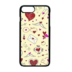 Valentinstag Love Hearts Pattern Red Yellow Apple Iphone 7 Plus Seamless Case (black) by EDDArt