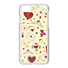 Valentinstag Love Hearts Pattern Red Yellow Apple Iphone 7 Seamless Case (white) by EDDArt