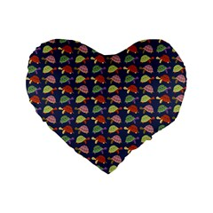 Turtle Pattern Standard 16  Premium Flano Heart Shape Cushions by Valentinaart