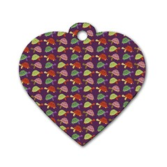 Turtle Pattern Dog Tag Heart (two Sides) by Valentinaart