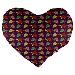 Turtle Pattern Large 19  Premium Heart Shape Cushions by Valentinaart