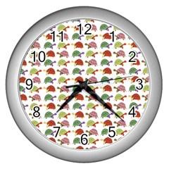 Turtle Pattern Wall Clocks (silver)  by Valentinaart